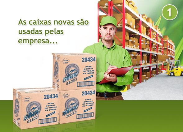 As caixas de papelão são usadas pelas empresas